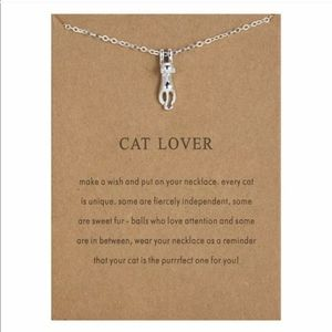 "Silver ""Cat Lover"" Cat Pendant Necklace"